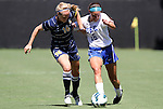 09 September 2012: Duke's Laura Weinberg (right) and Marquete's Megan Jaskowiak (left). The Duke University Blue Devils defeated the Marquette University Golden Eagles 5-2 at Koskinen Stadium in Durham, North Carolina in a 2012 NCAA Division I Women's Soccer game.