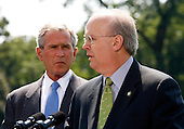 "Washington, D.C. - August 13, 2007 -- Deputy Chief of Staff Karl Rove makes remarks after announcing on Monday, August 13, 2007, that he is leaving the Bush Administration at the end of August, 2007. Standing next to United States President George W. Bush, Rove told reporters ""I am grateful to have been a witness of history. It has been the joy and the honor of a lifetime."" Rove, a close friend of President Bush has been his most prominent advisor and political strategist..Credit: Aude Guerrucci - Pool via CNP"