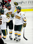 12 December 2009: University of Vermont Catamount forward and team co-captain Brian Roloff (14), a Senior from West Seneca, NY, is congratulated after scoring his second goal against the St. Lawrence University Saints at Gutterson Fieldhouse in Burlington, Vermont. The Catamounts shut out their former ECAC rival Saints 3-0. Mandatory Credit: Ed Wolfstein Photo