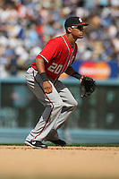 04/29/12 Los Angeles, CA: Washington Nationals shortstop Ian Desmond #20 during an MLB game between the Washington Nationals and the Los Angeles Dodgers played at Dodger Stadium. The Dodgers defeated the Nationals 2-0.