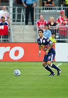 21 August 2010: New York Red Bulls defender Carlos Mendes #44 in action during a game between the New York Red Bulls and Toronto FC at BMO Field in Toronto..The New York Red Bulls won 4-1.