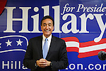 Former U.S. Secretary of Housing and Urban Development Henry Cisneros speaks to an assembly of presidential candidate Hillary Clinton supporters, Feb. 18, 2008, at Clinton's presidential campaign headquarters in San Antonio. (Darren Abate/PressPhotoIntl.com)