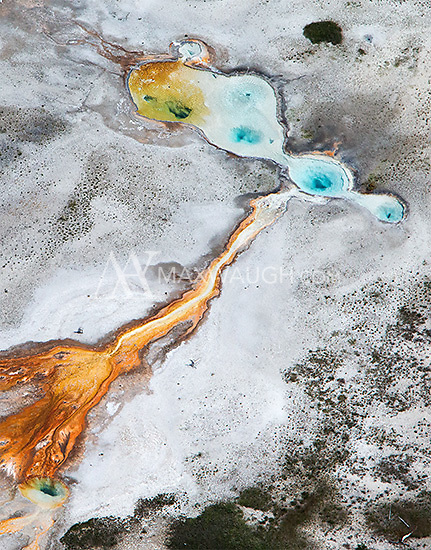 Thermal features photographed during an aerial shoot of Yellowstone National Park.