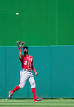 7 September 2014: Washington Nationals outfielder Denard Span pulls in a fly ball against the Philadelphia Phillies at Nationals Park in Washington, DC. The Nationals defeated the Phillies 3-2 to salvage the final game of their 3-game series. Mandatory Credit: Ed Wolfstein Photo *** RAW (NEF) Image File Available ***