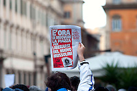 Roma 30 Gennaio 2009.Il  'Popolo Viola' in piazza  a difesa della Costituzione, mobilitati dal 'Comitato 30 gennaio' nato dopo la manifestazione di Roma..Rome, January 30, 2009.The 'Purple People' to the streets in defense of the Constitution, mobilized by the 'Committee January 30' born after the demonstration in Rome.