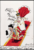BNPS.co.uk (01202 558833)<br /> Pic: Sothebys/BNPS<br /> <br /> 'Kneel! You Snivelling Bastard' - The Queen and Jeremy Corbyn.<br /> <br /> A collection of more than 130 drawings by one of Britain's most celebrated cartoonists has emerged for auction and are tipped to sell for &pound;850,000.<br /> <br /> The collection of Gerald Scarfe - who has worked as a cartoonist for the Sunday Times for 44 years - includes satirical portraits of leading political figures from Winston Churchill to Theresa May, as well as examples of his work on Disney film Hercules and Pink Floyd's animation film The Wall.<br /> <br /> While many of the drawings included in the auction have been published, a number of works included in the sale are unseen.<br /> <br /> Those who have been immortalised in his cartoons include Donald Trump, Barack Obama, George Bush, David Cameron, Tony Blair, Margaret Thatcher, Boris Johnson, Nigel Farage, George Osborne and Jeremy Corbyn.
