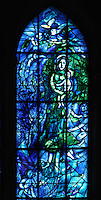 Left lancet of the stained glass windows created by Chagall with glassworker Charles Marq in 1974 depicting the Virgin and the child, axial chapel, Notre-Dame de Reims (Our Lady of Rheims), pictured on February 15, 2009, 13th - 15th century, Roman Catholic Cathedral where the kings of France were crowned, Reims, Champagne-Ardenne, France.