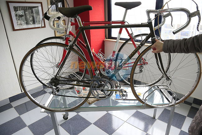 Tommasini's first bikes were branded as Thomas on display in the showroom at the Tommasini factory based in Grosseto, Tuscany, Italy 6th March 2017.<br /> Picture: Eoin Clarke | Newsfile<br /> <br /> <br /> All photos usage must carry mandatory copyright credit (&copy; Newsfile | Eoin Clarke)