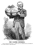 "The Easter Offering. Mr. Lloyd George (fresh from Paris). "" I don't say it's a perfect egg; but parts of it, as the saying is, are excellent."" (Lloyd George holds a large Easter Egg of Draft Peace Terms)"