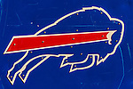 12 October 2014: A Buffalo Bills logo adorns the side of an equipment bin prior to a game against the New England Patriots at Ralph Wilson Stadium in Orchard Park, NY. The Patriots defeated the Bills 37-22 to move into first place in the AFC Eastern Division. Mandatory Credit: Ed Wolfstein Photo *** RAW (NEF) Image File Available ***