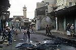 Nablus, West bank Israel, street scene after riot. 1980s Middle east.