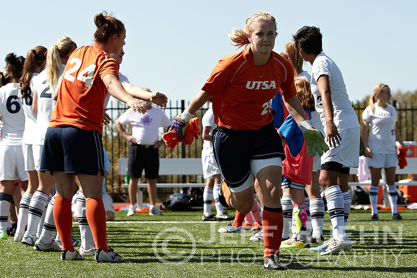 SAN ANTONIO, TX - OCTOBER 23, 2011: The McNeese State University Cowgirls vs. The University of Texas at San Antonio Roadrunners Women's Soccer at the UTSA Recreational Sports Complex. (Photo by Jeff Huehn)