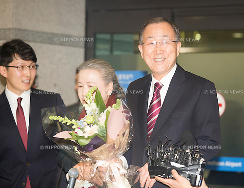 Ban Ki-Moon, Jan 12, 2017 : Former U.N. Secretary-General Ban Ki-moon (R) arrives in Incheon airport in Incheon, west of Seoul, South Korea. Ban, who is a former foreign minister of South Korea, finished his second five-year term as the U.N. Secretary-General at the end of last year. Ban is closely competing with Moon Jae-in of the opposition Democratic Party for the front runner position in opinion polls for the upcoming presidential election of South Korea. The election was originally scheduled for December this year but it could take place earlier if the Constitutional Court upholds the impeachment of President Park Geun-Hye. Park was impeached on December 9, 2016 over a corruption scandal centering on her longtime confidante Choi Soon-Sil. (Photo by Lee Jae-Won/AFLO) (SOUTH KOREA)