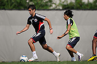 Austin Da Luz (13) is trailed by Irving Garcia (99) during a New York Red Bulls practice on the campus of Montclair State University in Upper Montclair, NJ, on July 16, 2010.