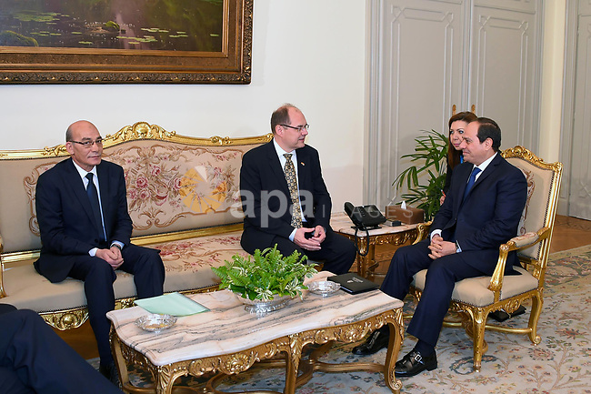 Egyptian President Abdel Fattah al-Sisi meets with German Minister for Agriculture and Food Christian Schmidt, in Cairo, Egypt, on April 11, 2017. Photo by Egyptian President Office