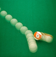 TRANSFER OF ENERGY - BILLIARD BALLS <br /> Cue Ball Strikes A Target Ball.<br /> When the cue ball strikes the target ball, it transfers all its energy to forward momentum of target ball
