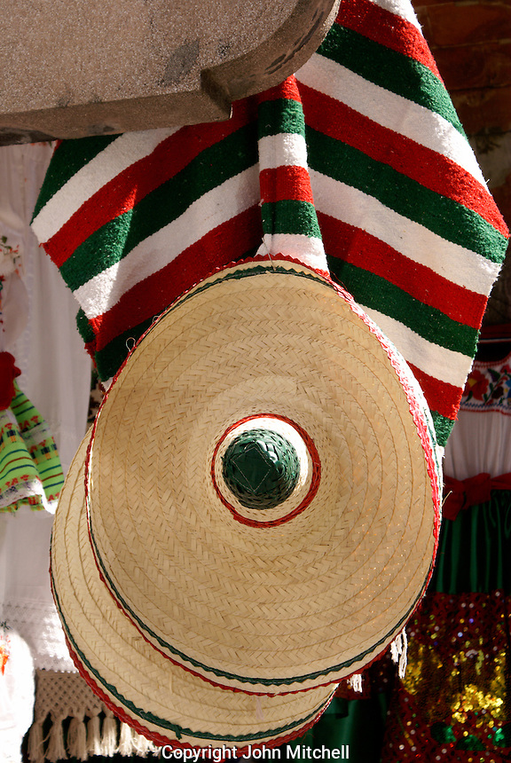 Mexican sombrero amd serape in the city of Puebla, Mexico. The historical center of Puebla is a UNESCO World Heritage Site..