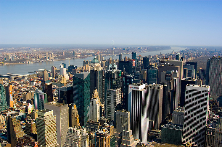 New York City, New York: View from top of the Empire State Bldg  .Photo #: ny292-15020  .Photo copyright Lee Foster, www.fostertravel.com, lee@fostertravel.com, 510-549-2202.