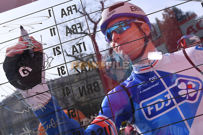 Defending Champion Arnaud Demare (FRA) FDJ at sign on before the start of the 108th edition of Milan-San Remo 2017 by NamedSport the first Classic Monument of the season running 291km from Milan to San Remo, Italy. 18th March 2017.<br /> Picture: La Presse/Gian Mattia D'Alberto | Cyclefile<br /> <br /> <br /> All photos usage must carry mandatory copyright credit (&copy; Cyclefile | La Presse)
