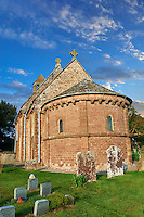 Norman Romanesque exterior of the Norman Romanesque Church of St Mary and St David, Kilpeck Herefordshire, England. Built around 1140
