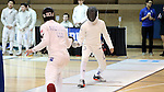 11 February 2017: Duke's Connor Ghazaleh (right) and Boston College's Brendan Anderson (left) compete in Epee. The Duke University Blue Devils hosted the Boston College Eagles at Card Gym in Durham, North Carolina in a 2017 College Men's Fencing match. Duke won the dual match 18-9 overall, 9-0 Foil, and 6-3 Saber. Boston College won Epee 6-3.