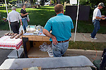 Craig Griffieon selling the family's beef at an area farmer's market, Polk County, Iowa.