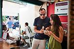 Patrons at Mil Frutas ice creamery, in the Leblon neighborhood, Rio de Janeiro, Brazil, on Saturday, Feb. 2, 2013.