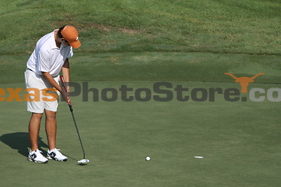 University of Texas freshman Beau Hossler putts during the Carpet Capital Collegiate at The Farm Golf Club in Rocky Face, Ga., on Saturday, Sept. 7. The Longhorns return to The Farm as defending champions after shooting a 13-under 851 in 2012.<br /> <br /> Photo by Patrick Smith