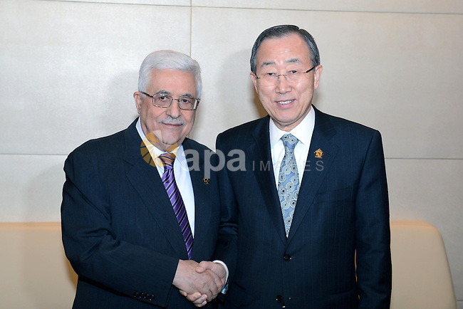 Palestinian President Mahmud Abbas meets with the Secretary General of United Nations Ban Ki-moom, on the sidelines of the 20th Ordinary Session of The Assembly of the Heads of State and Government (OSOA) of the African Union (UA) in Addis Ababa Ethiopia on January 27, 2013. Photo by Thaer Ganaim