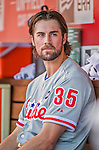 23 May 2015: Philadelphia Phillies starting pitcher Cole Hamels takes a breather in the dugout during a game against the Washington Nationals at Nationals Park in Washington, DC. Hamels notched his 5th win of the season as the Phillies defeated the Nationals 8-1 in the second game of their 3-game weekend series. Mandatory Credit: Ed Wolfstein Photo *** RAW (NEF) Image File Available ***