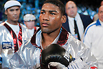 Madison Square Garden, New York, Oct. 10th,2009: Yuriorkis Gamboa   enters the ring shortly before his 12 rounds WBA Featherweight Title fight against Whyber Garcia. Gamboa, the 27-year-old 2004 Cuban Olympic gold medalist -- who defected and turned pro in early 2007 --  overwhelmed Panama's Garcia and won by TKO in round four. Photo by Thierry Gourjon.