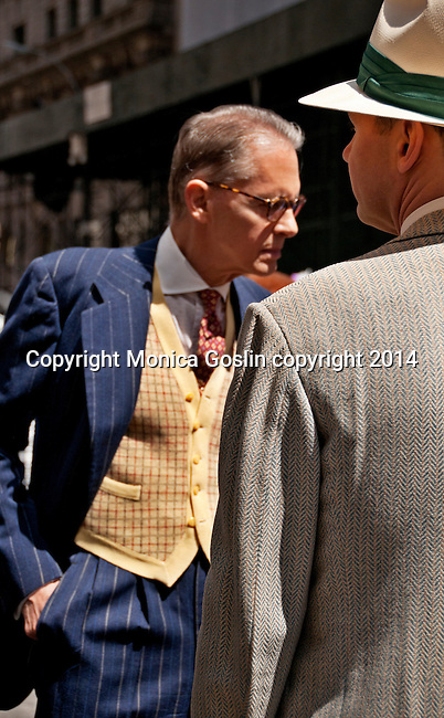 Men wearing vintage suits and hats in the Easter Parade on Fifth Avenue in New York City
