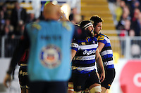 Bath Rugby players celebrate Kahn Fotuali'i's try. Aviva Premiership match, between Bath Rugby and Sale Sharks on October 7, 2016 at the Recreation Ground in Bath, England. Photo by: Patrick Khachfe / Onside Images