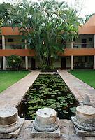 Lily pond at the Hotel Hacienda Uxmal near the Mayan ruins of Uxmal, Yucatan, Mexico.