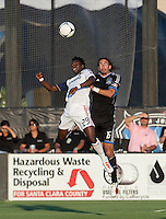 Santa Clara, California - Saturday July 14, 2012: Real Salt Lake's Kenny Mansally and San Jose Earthquakes' Alan Gordon in action during a game at Buck Shaw Stadium, Stanford, Ca     San Jose Earthquakes defeated Real Salt Lake 5 - 0..
