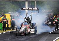 May 15, 2015; Commerce, GA, USA; NHRA top fuel driver Terry McMillen during qualifying for the Southern Nationals at Atlanta Dragway. Mandatory Credit: Mark J. Rebilas-USA TODAY Sports