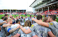 The Bath Rugby team huddle together after the match. Aviva Premiership match, between Gloucester Rugby and Bath Rugby on October 1, 2016 at Kingsholm Stadium in Gloucester, England. Photo by: Patrick Khachfe / Onside Images