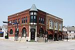 Historical building in Menomonee Falls Wisconsin on Main Street USA.  Bank of Memories