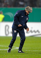 Pia Sundhage celebrates after the win. US Women's National Team defeated Germany 1-0 at Impuls Arena in Augsburg, Germany on October 29, 2009.