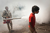 An inquisitive boys looks on while a civic worker fumigates the streets to prevent the spread of malaria and dengue fever in New Delhi, India.