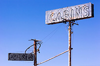 old cabins neon signs in california on the road to mammoth lakes