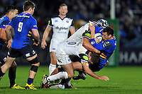 Zane Kirchner of Leinster Rugby is double-tackled by George Ford and Leroy Houston of Bath Rugby. European Rugby Champions Cup match, between Leinster Rugby and Bath Rugby on January 16, 2016 at the RDS Arena in Dublin, Republic of Ireland. Photo by: Patrick Khachfe / Onside Images