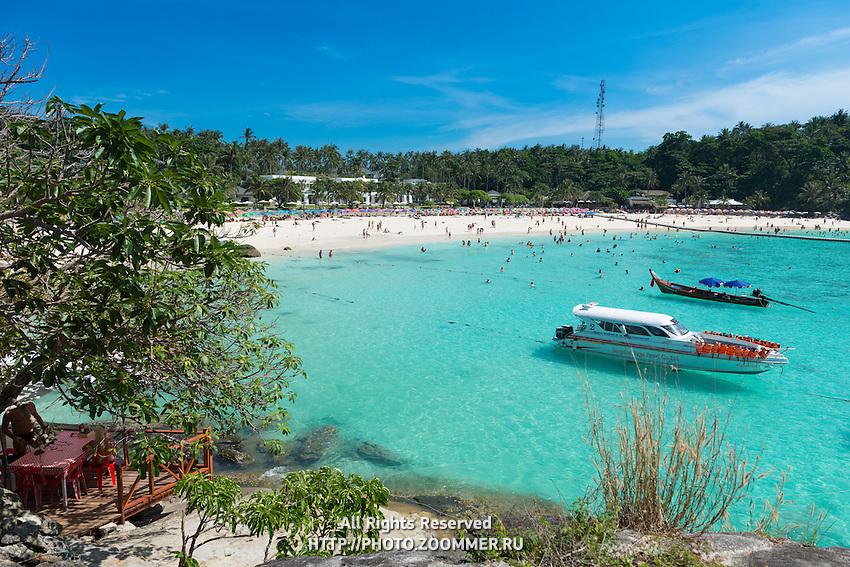 View of the Racha island from the restaurant on the rocks of Raya Bungalow Resort, Raya island, Thailand