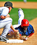 10 March 2009: Washington Nationals infielder Freddie Bynum is caught off first in the 6th pickoff attempt of the at-bat during a Spring Training game against the New York Mets at Space Coast Stadium in Viera, Florida. The Nationals and Mets tied 5-5 in the 10-inning Grapefruit League matchup. Mandatory Photo Credit: Ed Wolfstein Photo