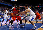 Josh Harrellson guards Kenny Gabriel in the first half of UK's win over the Auburn Tigers at Rupp Arena on Jan. 11, 2011. Photo by Britney McIntosh   Staff
