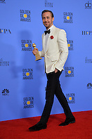 Ryan Gosling at the 74th Golden Globe Awards  at The Beverly Hilton Hotel, Los Angeles USA 8th January  2017<br /> Picture: Paul Smith/Featureflash/SilverHub 0208 004 5359 sales@silverhubmedia.com