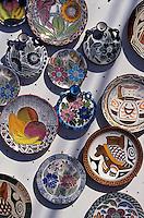 Ceramic plates for sale at the Sunday market in El Valle de Anton, Panama