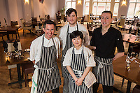 Mark Anderson of the Ruddington Arms (left),, pictured with his chefs, from left Morgan Gerrard, Qiu Chen and Alistair Beattie