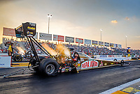 Sep 23, 2016; Madison, IL, USA; NHRA driver Leah Pritchett, pilot of the Papa Johns Pizza sponsored top fuel dragster of Don Schumacher Racing launches off the starting line during qualifying for the Midwest Nationals at Gateway Motorsports Park. Mandatory Credit: Mark J. Rebilas-USA TODAY Sports