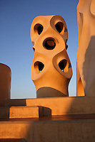 Stairs and Chimney, Roof, La Pedrera (Casa Milà), Barcelona, Catalonia, Spain, built by Antoni Gaudí (Reus 1852 ? Barcelona 1926), 1906 - 1910, for  Milà Family, with Joan Beltran as a plaster and with Josep Maria Jujol as architect collaborator. One of the main Gaudi residential buildings. Picture by Manuel Cohen